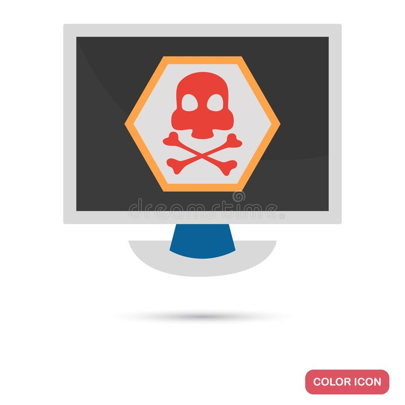 Computer infected with virus color flat icon royalty free illustration