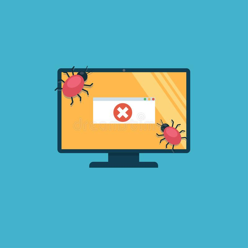 The computer is infected with viruses. On screen there is an error message. vector illustration