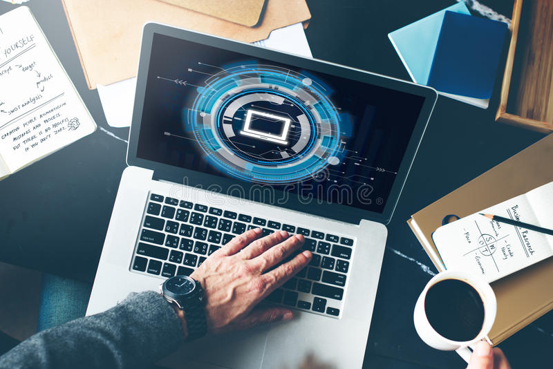 Computer-Informationstechnologie-Verbindungs-Konzept stockfotos