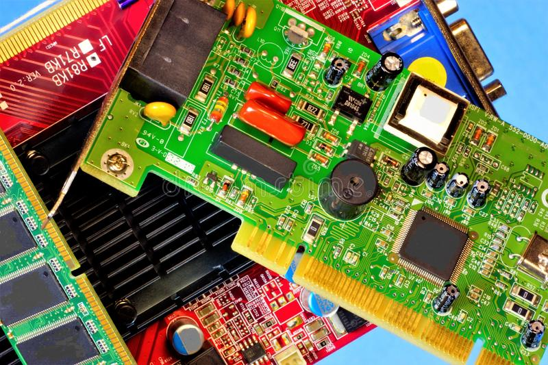 Computer inside, circuit Board, radio components.  Printed circuit Board is designed for electrical and mechanical connection of stock photography