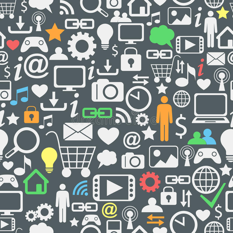 Computer and internet icons seamless pattern vector illustration