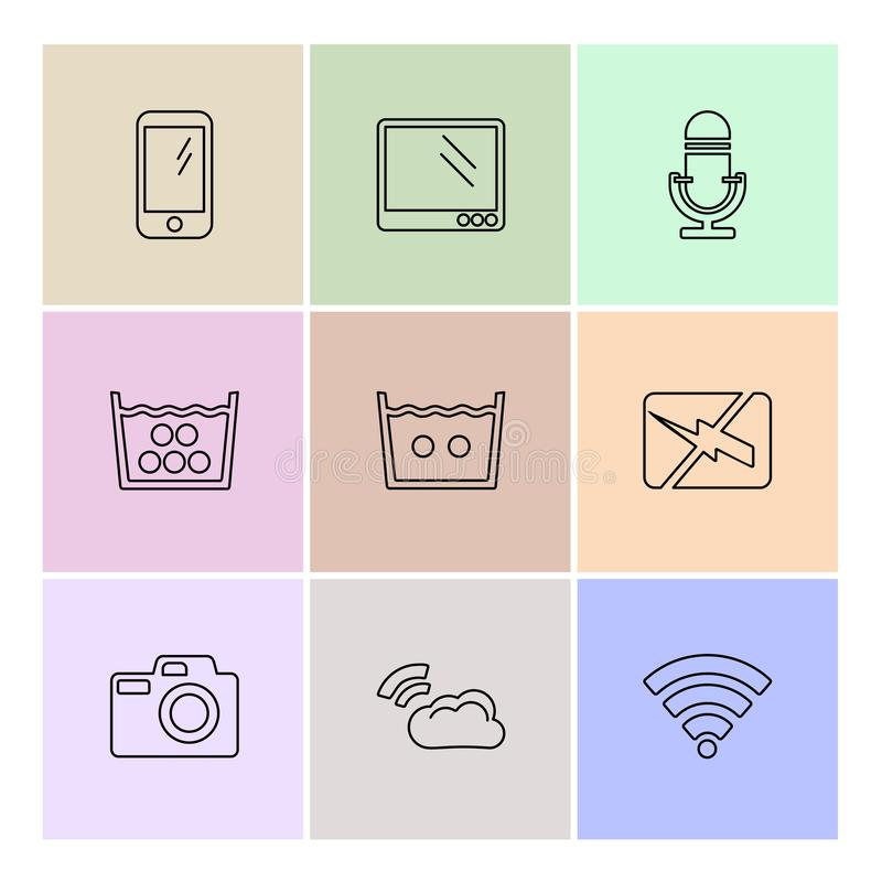Computer, internet , multimedia , infrared , camera ,eps icons. Computer, internet , multimedia , infrared , camera , technology , music , microphone , speaker stock illustration