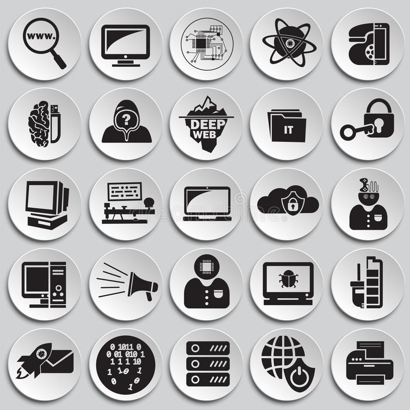Computer and internet technologies set on plates background. Icons royalty free illustration