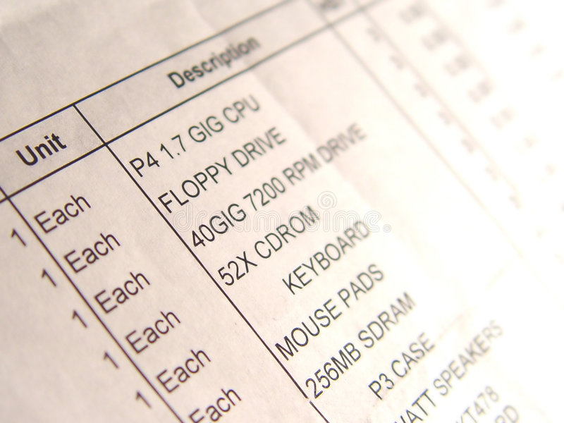 Invoice. For computing supplies