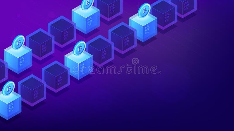 Computer isometrici di estrazione mineraria del bitcoin royalty illustrazione gratis