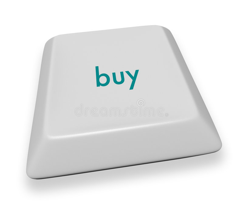 Computer Key - Buy. A gray computer keyboard button displaying the word buy vector illustration