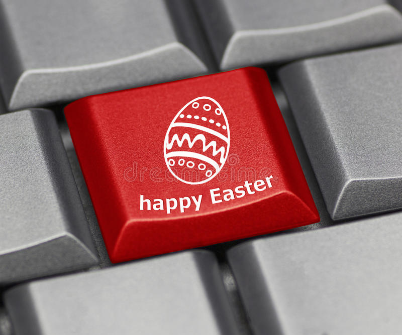 Computer key - Happy Easter with egg. Computer key red - Happy Easter with egg stock photo