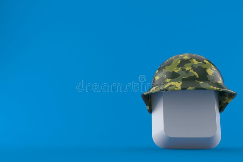 Computer key with military helmet. Isolated on blue background. 3d illustration stock illustration