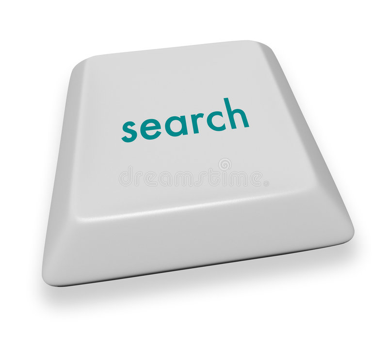 Computer Key - Search. A gray computer keyboard button displaying the word search stock illustration