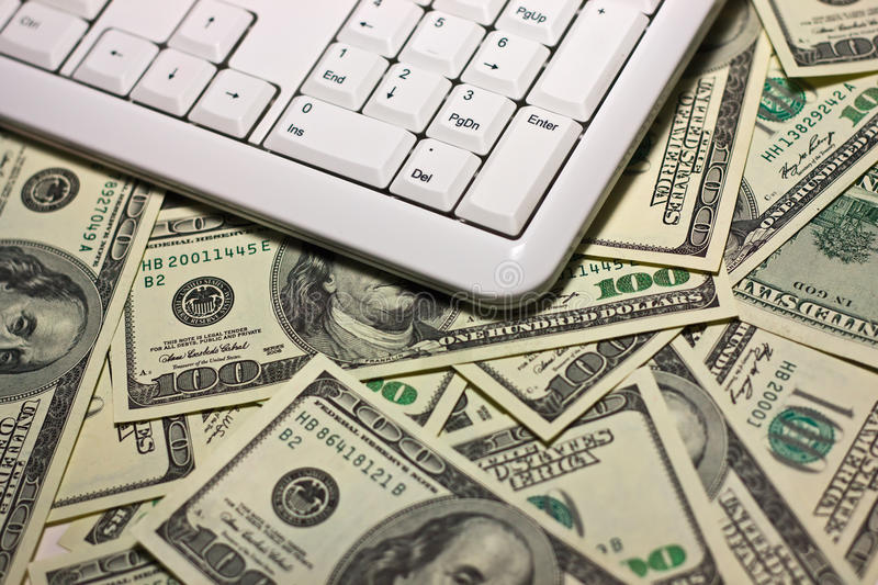Download Computer Keyboard On The $100 Banknotes Background Stock Image - Image: 11391487