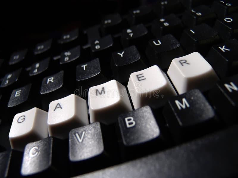 Computer keyboard. Black computer keyboard,gamer word royalty free stock photos