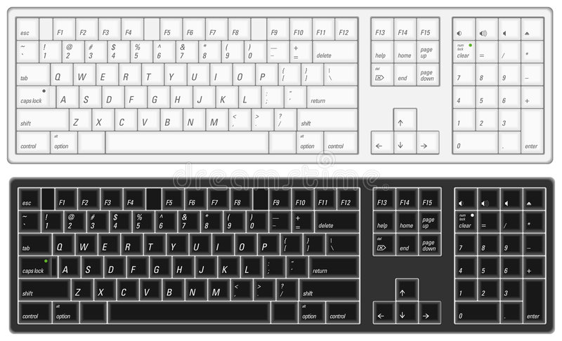 Computer Keyboard. Illustration of a computer keyboard with option of black or white