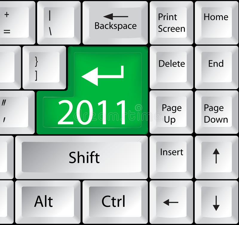 Computer Keyboard with 2011 Key. Holiday concept royalty free illustration