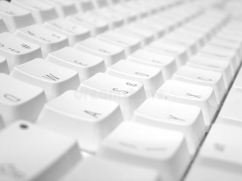 Computer keyboard. White computer keyboard close-up (great background