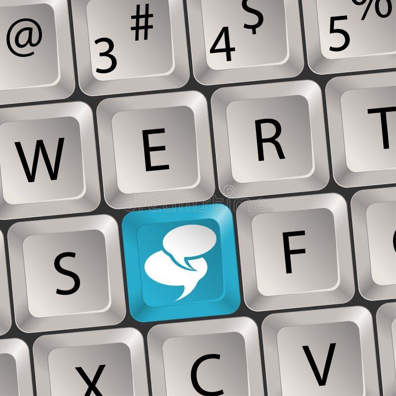 Computer Keyboard. Concept Social Media - Computer keyboard with a key Speech Bubbles, vector illustration vector illustration