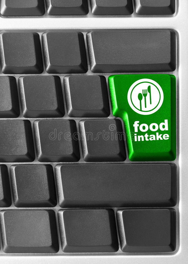 Computer keyboard, with. Close-up of Computer keyboard, with Food instant key royalty free stock images