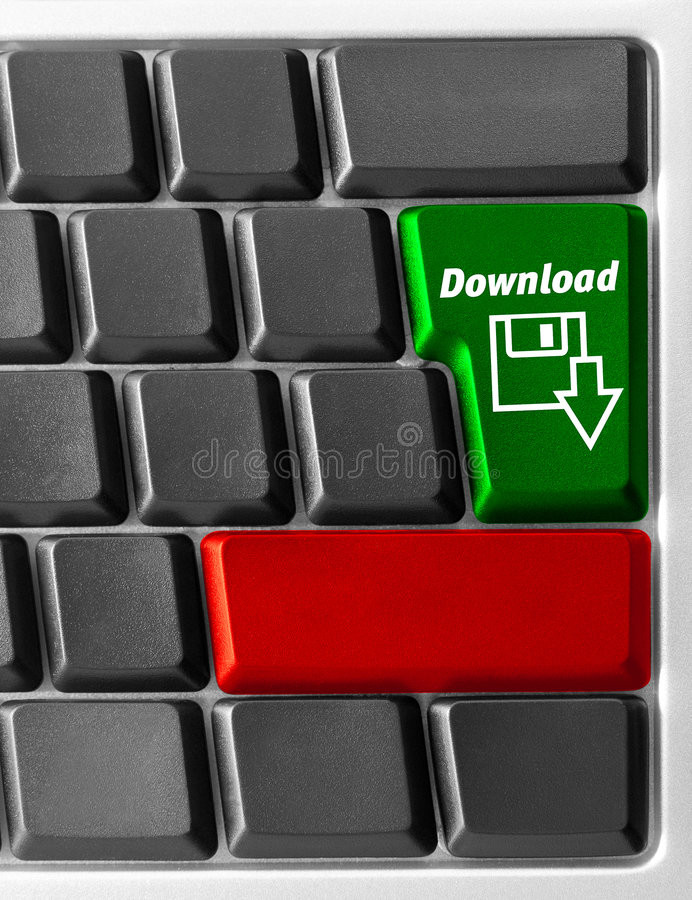 Computer keyboard with. Close-up of Computer keyboard with Download key royalty free stock image