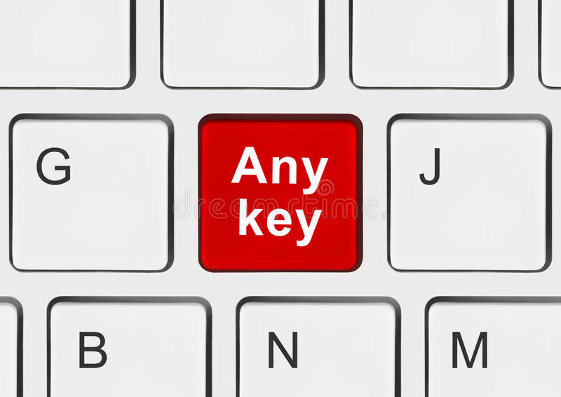 Computer keyboard with Any key. Technology background royalty free stock images