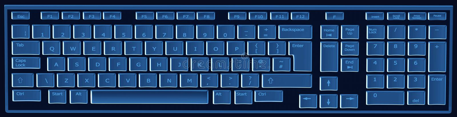 Computer keyboard in black and blue. Computer keyboard in black and keys in blue stock illustration
