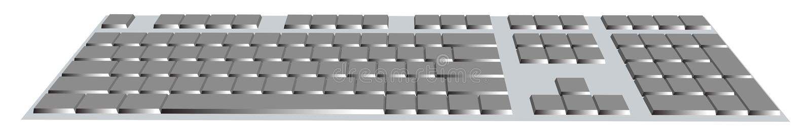Computer keyboard with blank buttons, isolated on white,  isometric, in perspective. royalty free illustration