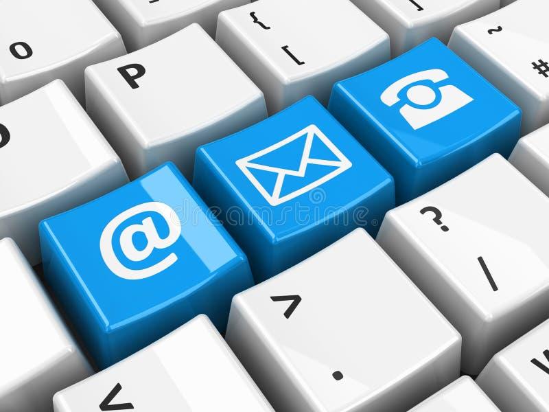 Computer keyboard blue contact royalty free illustration