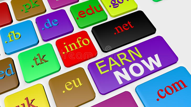 Computer keyboard button key with colorful website and Internet domain names. 3D Illustration of keyboard keys with letter of website links  for online royalty free illustration