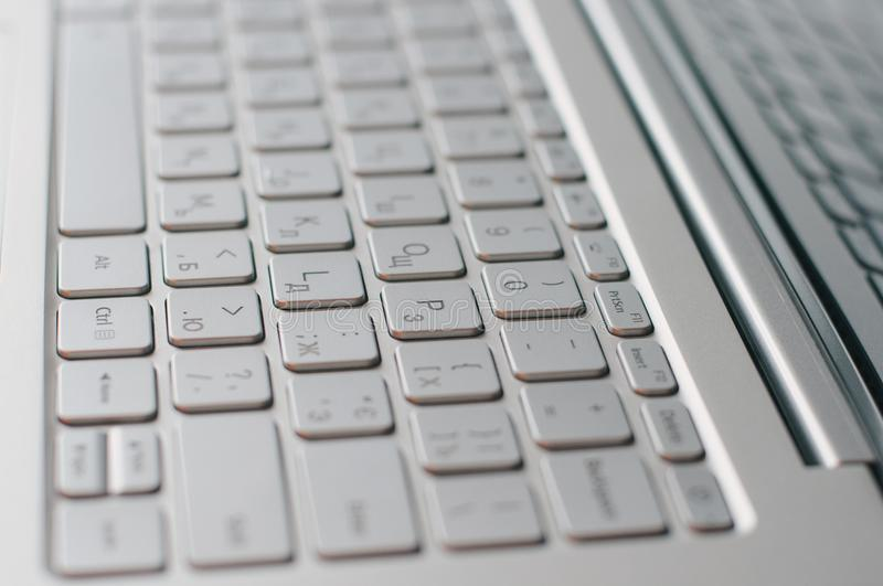 Computer keyboard buttons closeup. Laptop in macro stock images