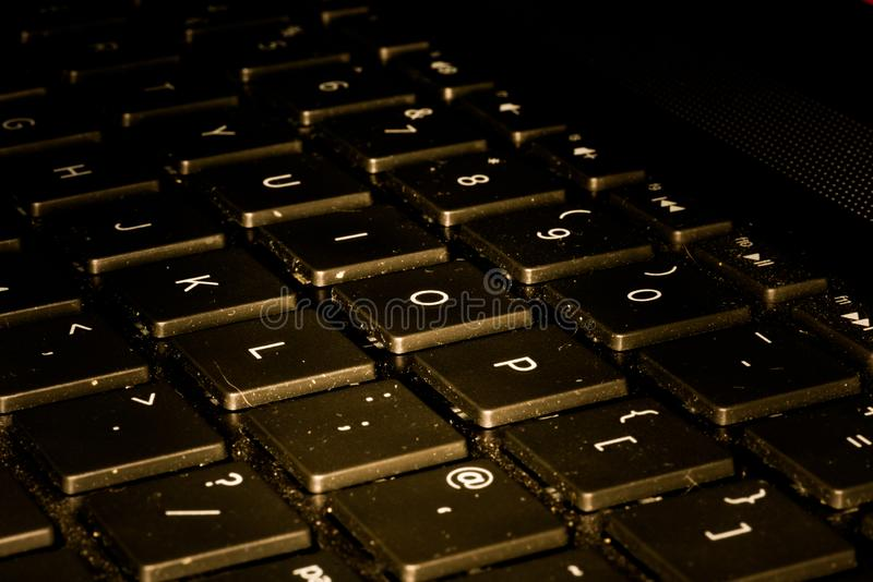 Computer Keyboard Closeup While Key Are Being Pushed. Minimalism, purity stock images
