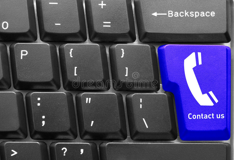 Computer keyboard concept. Close-up of Computer keyboard, with Contact us key stock photography