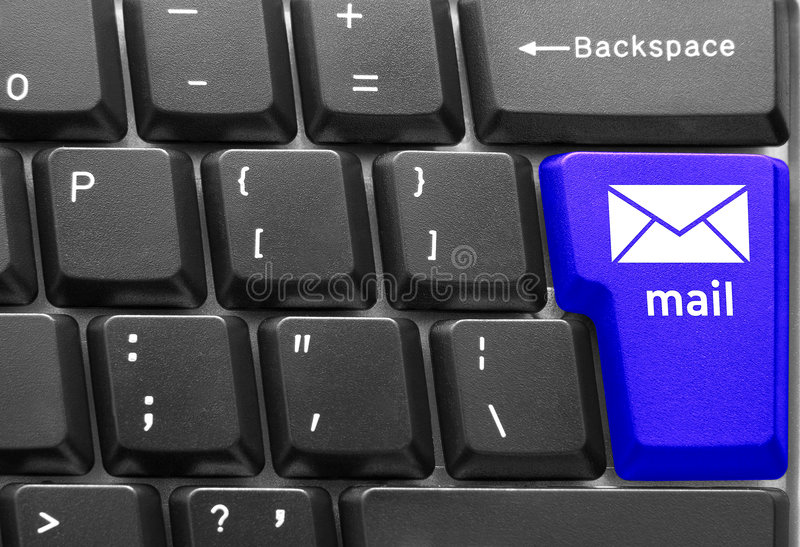 Computer keyboard concept. Close-up of Computer keyboard, with blue Mail key royalty free stock image