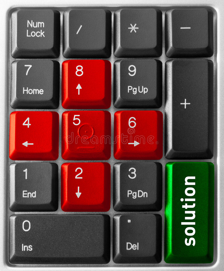 Computer keyboard concept. Close-up of Computer keyboard, with Solution key royalty free stock photos