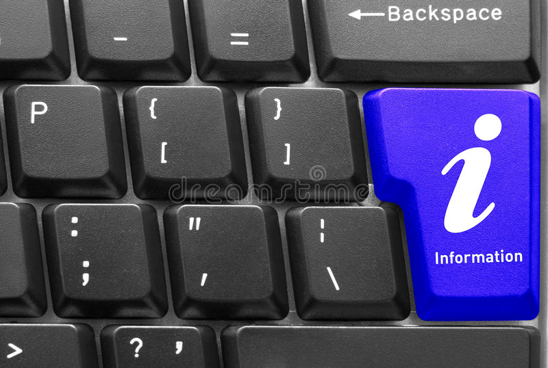 Computer keyboard concept. Close-up of Computer keyboard, with blue Info key royalty free stock image