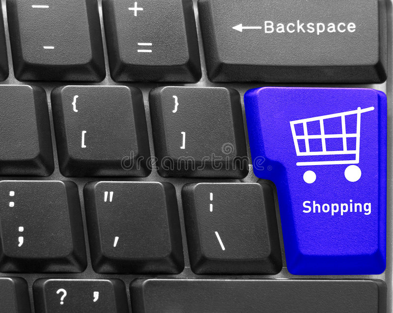 Computer keyboard concept. Close-up of Computer keyboard, with blue Shopping key royalty free stock photography
