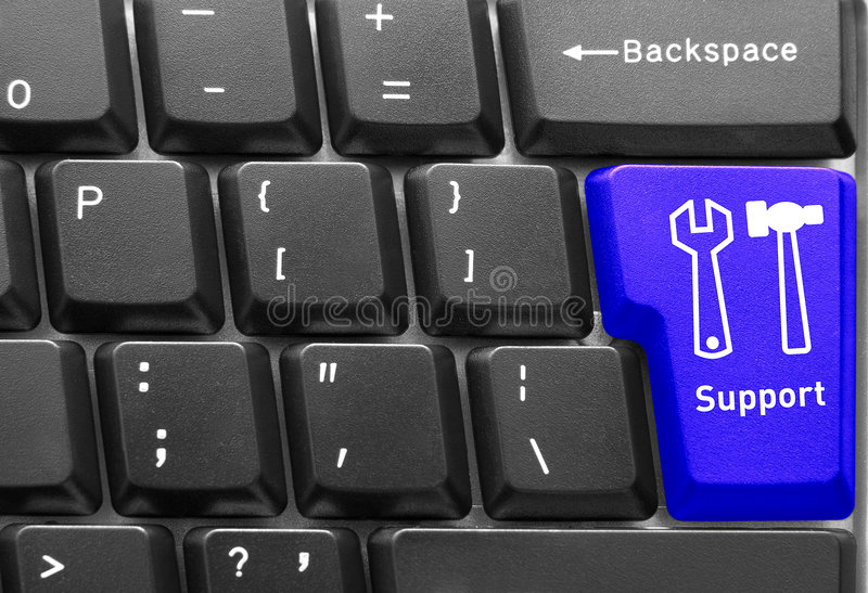 Computer keyboard concept. Close-up of Computer keyboard, with blue Support key royalty free stock images