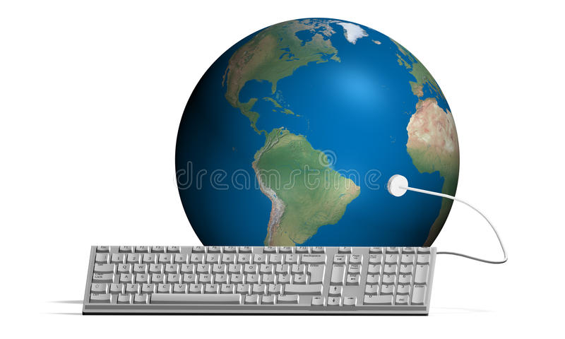 Computer keyboard connected with the World vector illustration