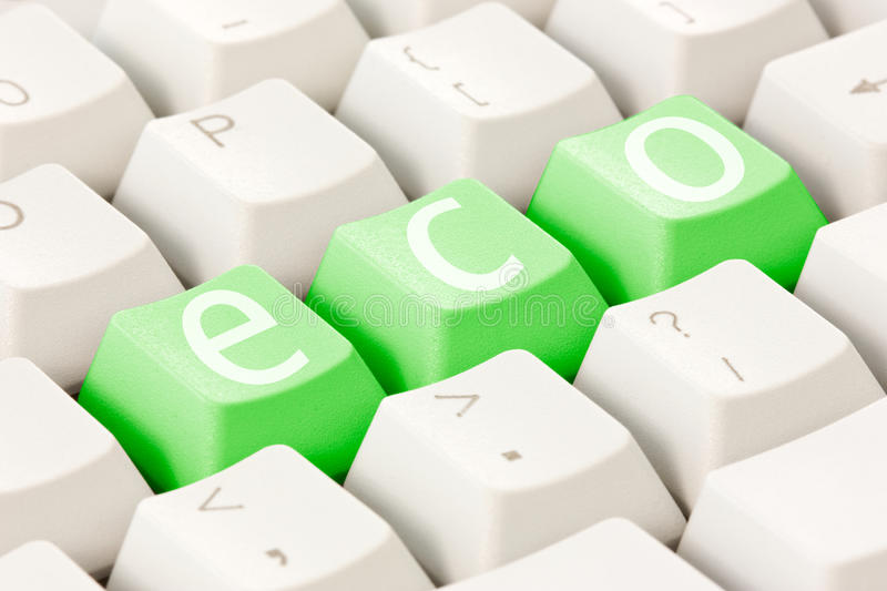 Computer Keyboard With An Eco Option Stock Photos