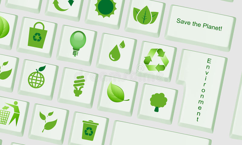 Computer keyboard with environment keys royalty free illustration
