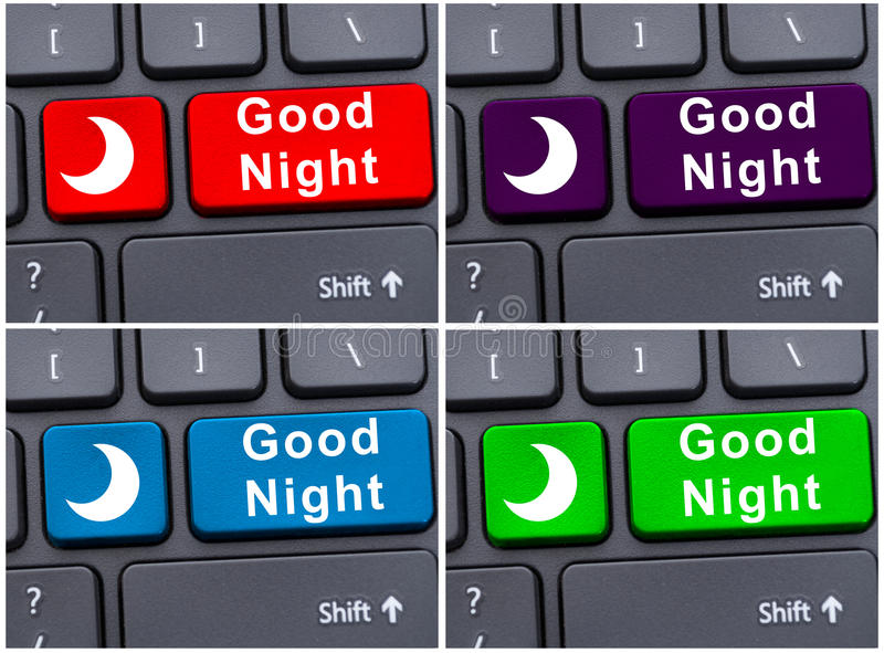 Computer keyboard with good night button. As end concept royalty free stock photography