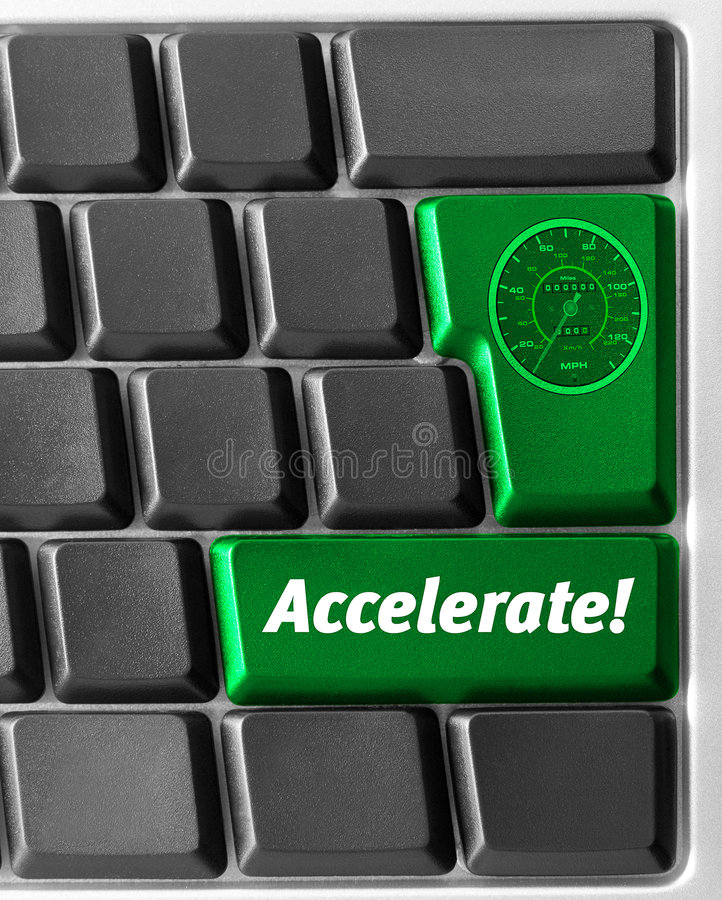 Computer keyboard, with green. Close-up of Computer keyboard, with green Accelerate key royalty free stock photo