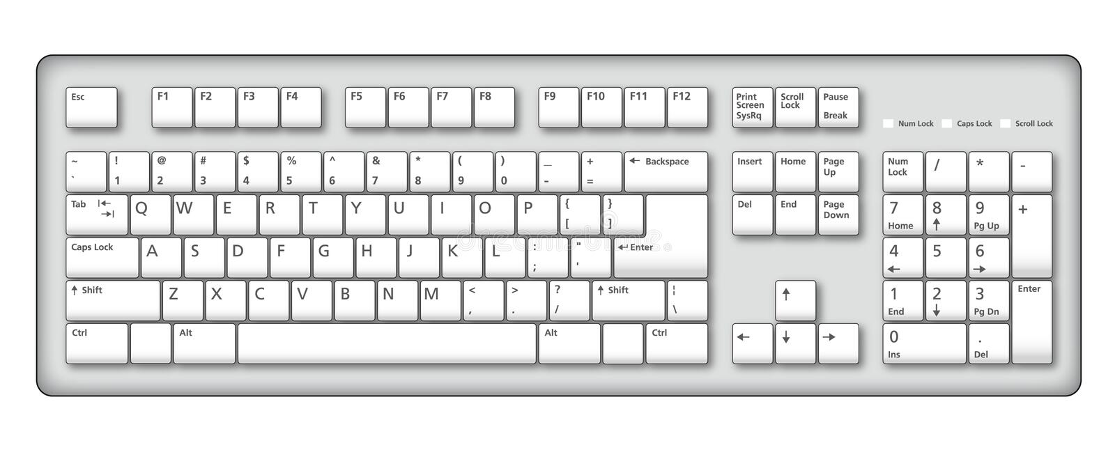Computer keyboard illustration vector illustration