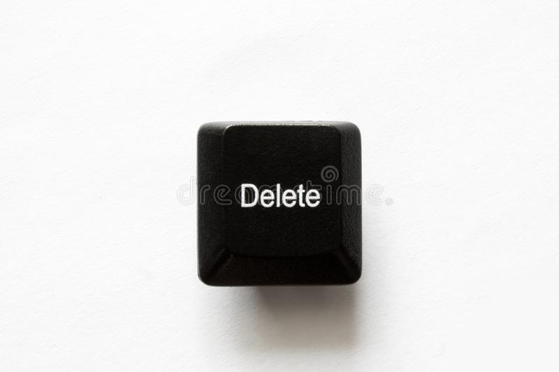 Computer keyboard keys. delete. Isolated on white background closeup royalty free stock photos