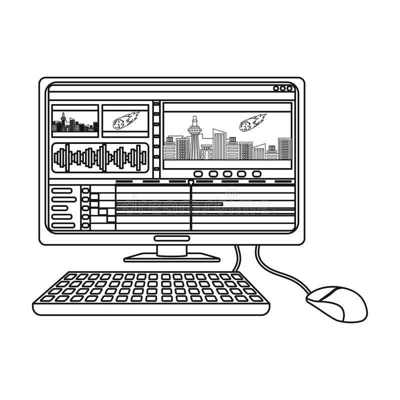 Computer with keyboard.Making movie single icon in outline style vector symbol stock illustration web. stock illustration