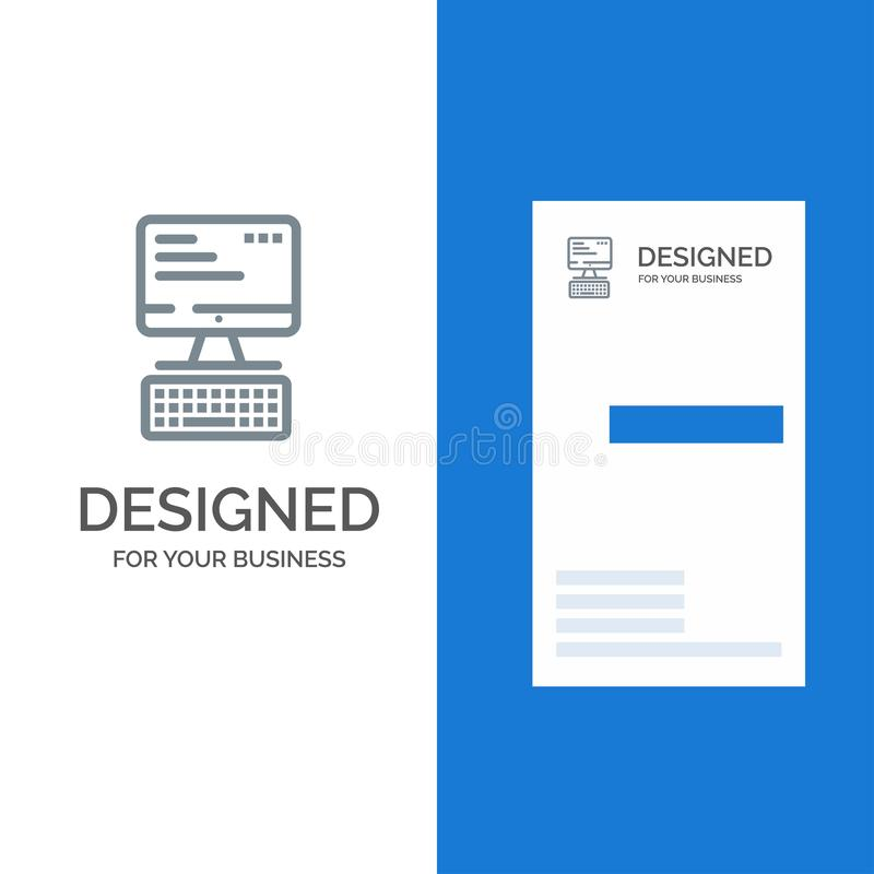 Computer, Keyboard, Monitor, Computing Grey Logo Design and Business Card Template vector illustration