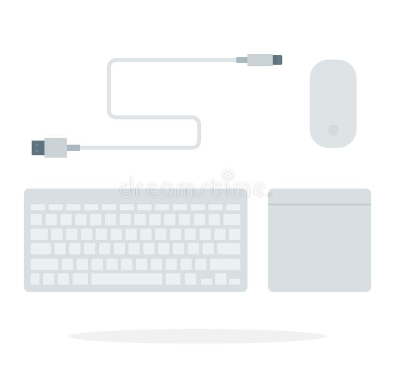 Free Computer Keyboard, Mouse Pad, USB Cable Flat Vector Stock Photography - 170130722