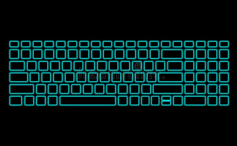 Computer keyboard with neon backlight on black background. Modern fluorescent design for banner. Vector luminescent illumination stock illustration