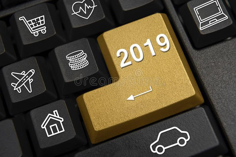 Computer keyboard and 2019 New Year`s wish concept. royalty free stock images