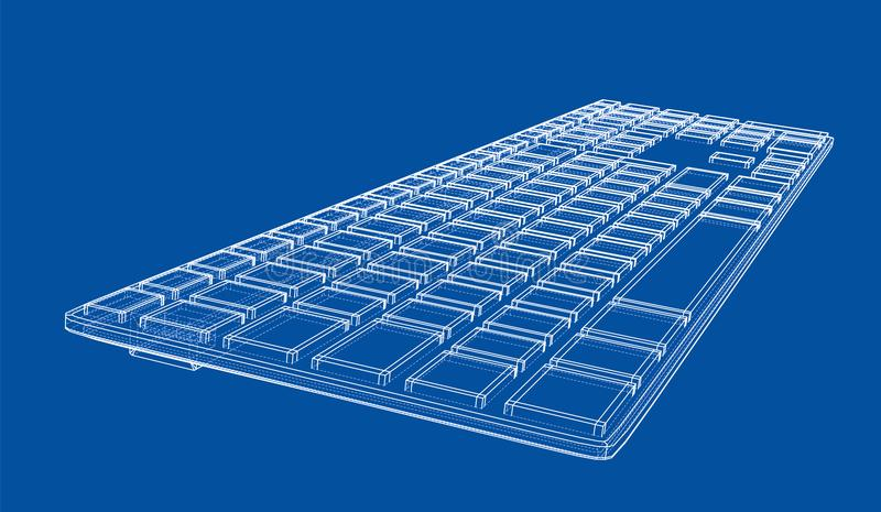 Computer keyboard outline. Vector rendering of 3d. Wire-frame style. The layers of visible and invisible lines are separated royalty free illustration