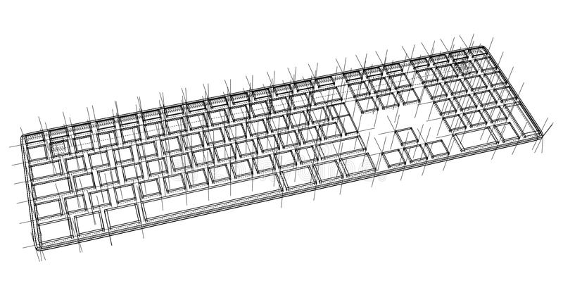Computer keyboard outline stock illustration