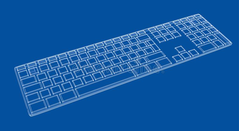 Computer keyboard outline. Vector rendering of 3d. Wire-frame style. The layers of visible and invisible lines are separated vector illustration