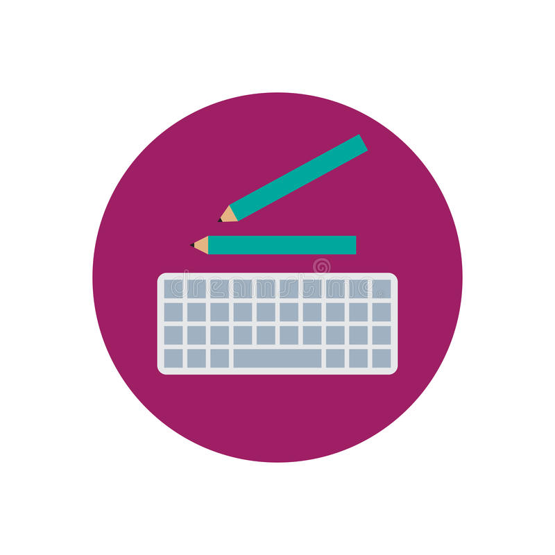Computer keyboard and pencils flat icon. stock illustration